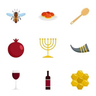 Joodse vakantie icon set, vlakke stijl