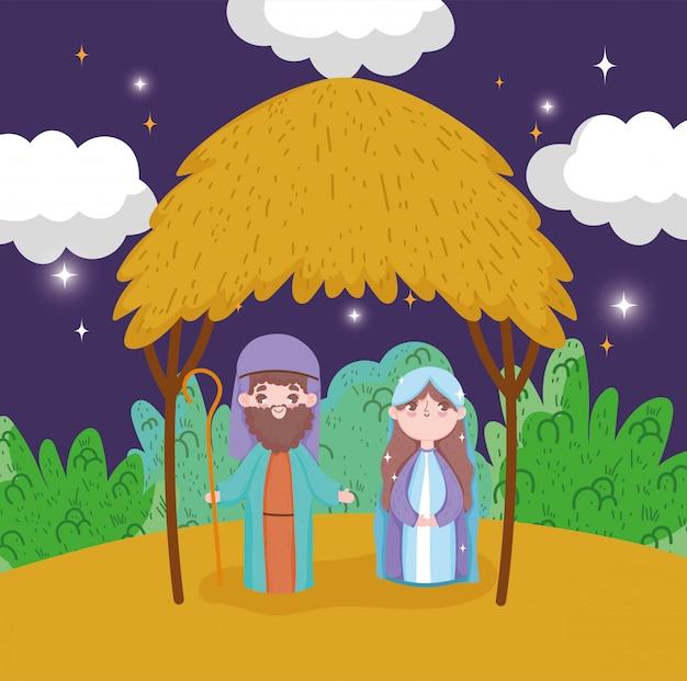 Joseph en mary kerststal gelukkig vrolijk kerstfeest