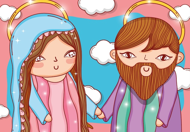 Joseph en mary samen met mooie wolken