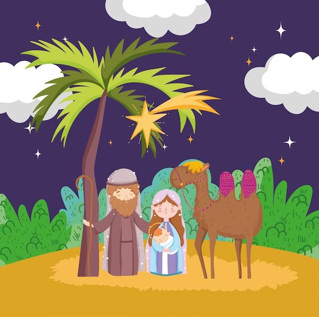 Joseph maria baby jezus en kameel nacht woestijn kribbe geboorte, vrolijk kerstfeest