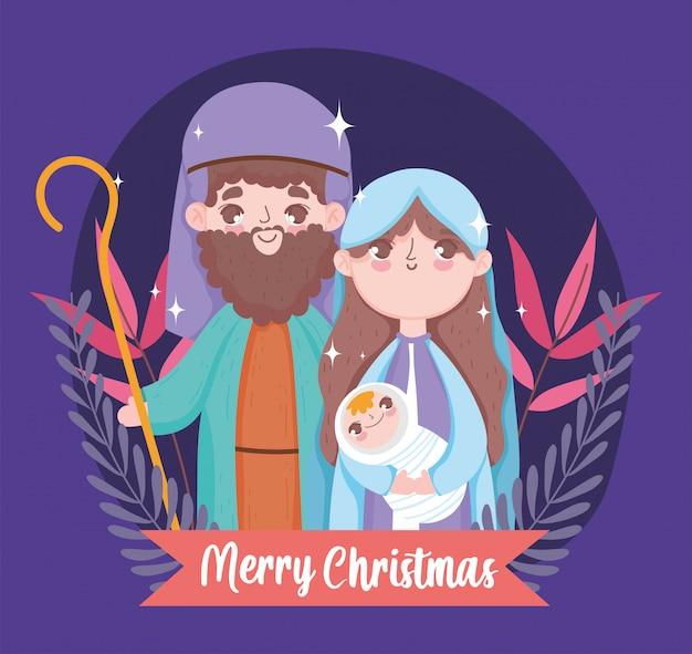 Joseph mary en baby kerststal vrolijk kerstfeest