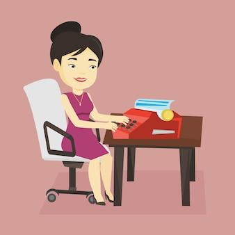 Journalist bezig met retro typemachine.