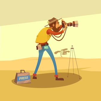 Journalist in een droge woestijn die foto's met de vectorillustratie van het camerabeeldverhaal maken