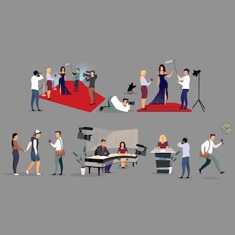 Journalist interviewen vlakke afbeelding set. correspondenten, fotografen stripfiguren. reporters, interviewers met microfoonopname, uitzendingen. journalistiek, massamedia, tv-industrie