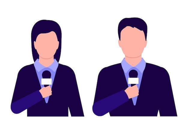 Journalist interviewt, bericht nieuws voor tv. man en vrouw houden microfoon vast.