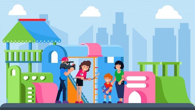 Journalist met het kind van het camera-interview bij stadsspeelplaats, illustratie. videonieuws met jonge jongen stripfiguur.