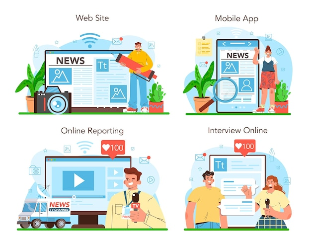 Journalist online service of platform set krant internet en radio