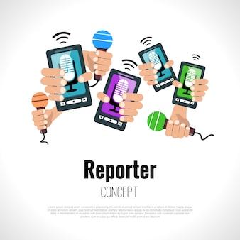 Journalist verslaggever concept