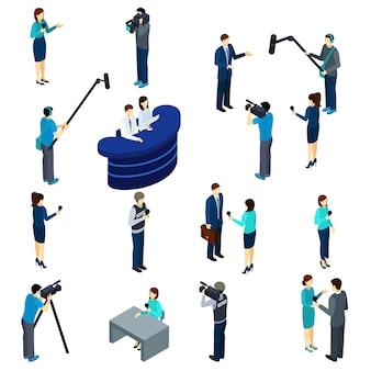 Journalist werk isometrische pictogrammen instellen