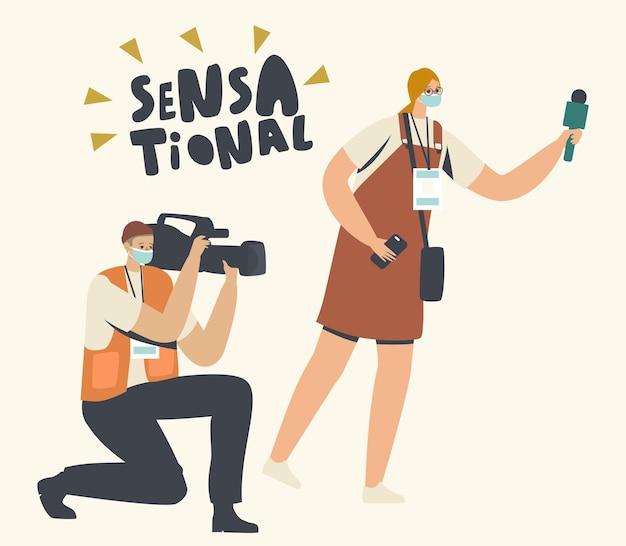 Journalisten die sensationeel nieuws, filmprijsuitreiking of festival filmen