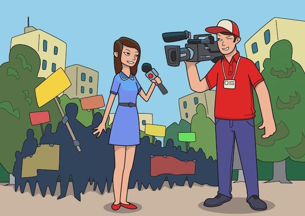 Journalisten doen verslag van een straatprotest. belangrijk nieuws. illustratie.