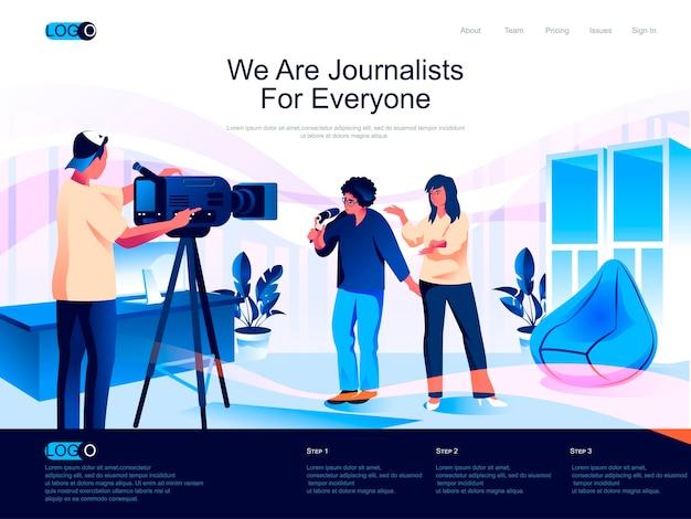 Journalisten isometrische bestemmingspagina met vlakke karaktersituatie