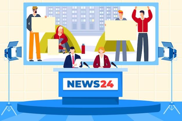 Journalisten werken in nieuwsstudio Premium Vector