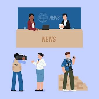 Journalistencollectie in plat ontwerp