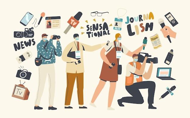 Journalistiek beroep concept. journalisten en cameraman mannelijke en vrouwelijke personages met professionele apparatuur microfoons, camera en badges opnemen van nieuws. lineaire mensen vectorillustratie