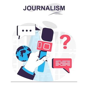 Journalistiek geïsoleerd cartoon concept journalist met microfoon op persconferentie