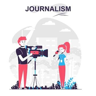 Journalistiek geïsoleerd cartoonconcept journalist maakt verslagverslagverhaal met cameraman