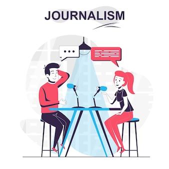 Journalistiek geïsoleerd cartoonconcept journalist praat met gast van tv-show en interviews