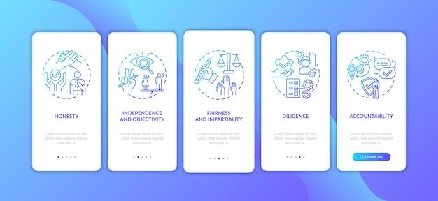 Journalistieke ethische normen onboarding mobiele app-paginascherm met concepten