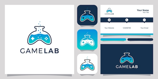Joystick en laboratorium abstract logo en visitekaartje ontwerp