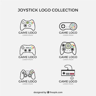 Joystick-logoverzameling met plat ontwerp