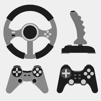 Joystick plat pictogrammen instellen, videogame, console spelen - illustratie