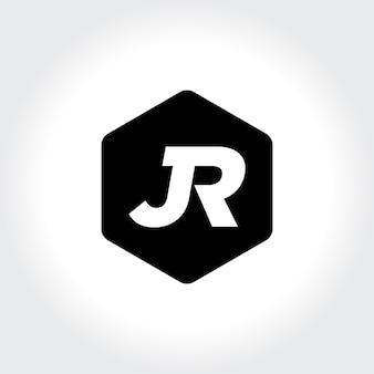 Jr eerste monogram binnen zeshoek pictogram