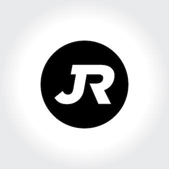 Jr eerste monogram in cirkelpictogram