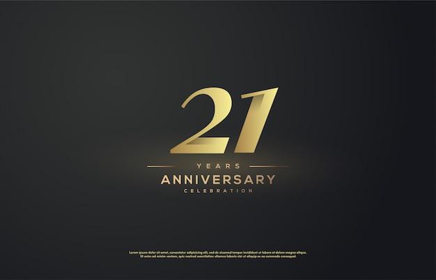 Jubileumfeest met nummer 21 in klassieke gouden kleur
