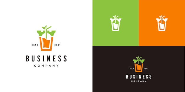 Juice-logo met kasteelontwerpsjabloon