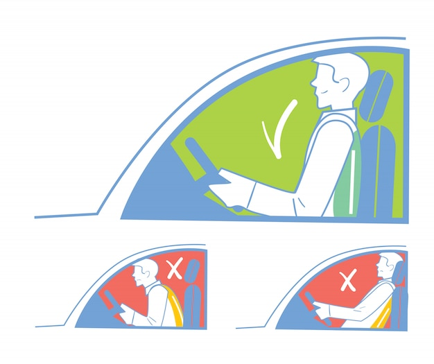 Juiste en onjuiste positie in de auto