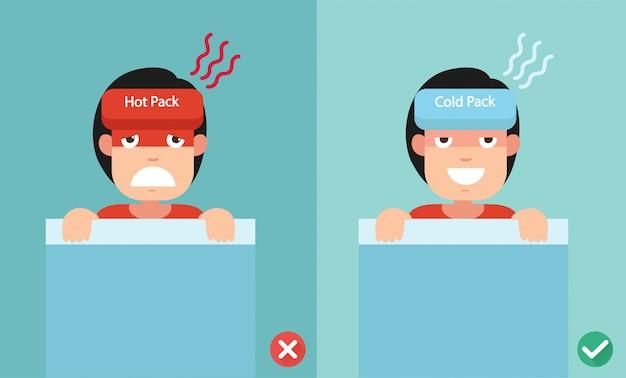 Juiste en verkeerde manieren om koude en warmtepakketten te gebruiken voor koorts.
