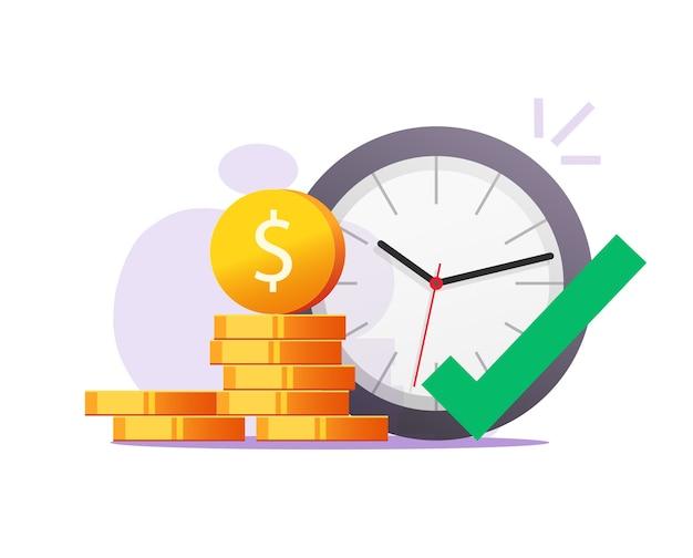 Juiste tijd voor gelegenheid om geld vectorconcept te maken of te verdienen
