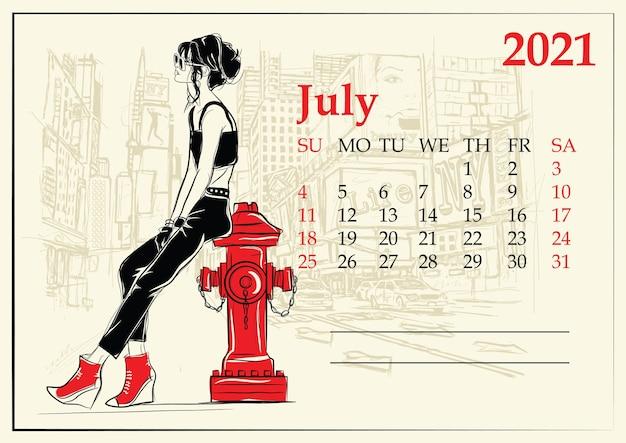 Juli. kalender met mode meisje in schetsstijl.