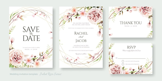 Juliet rose flower bruiloft uitnodigingskaart, bewaar deze datum, bedankt, rsvp-sjabloon.
