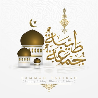 Jummah tayibah gelukkig gezegend vrijdag arabische kalligrafie vector design met moskee en patroon