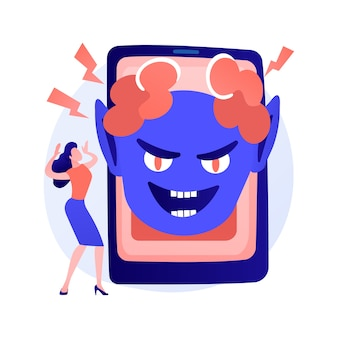 Jump bang reclame-idee. cyberpesten, online intimidatie. internetschreeuwer, shockinhoud, telefoonvirus. horror clown karakter. vector geïsoleerde concept metafoor illustratie