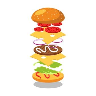 Jumping burger biedt een heerlijke en aantrekkelijke hamburger met verfrissende ingrediënten