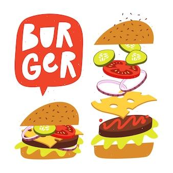 Jumping burger met verse ingrediënten. vector fastfood illustratie.