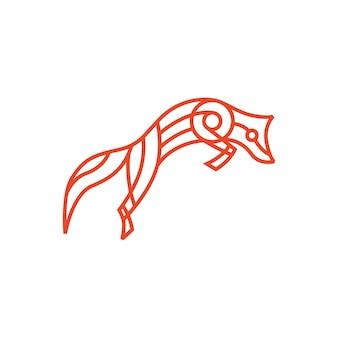 Jumping fox monoline overzicht lijntekeningen kleur logo vector pictogram illustratie