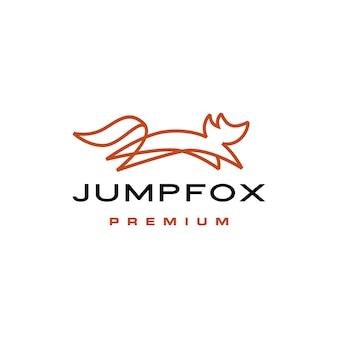 Jumping fox snelle bruine lijn overzicht monoline logo vector pictogram illustratie