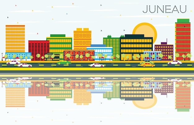 Juneau skyline met kleur gebouwen, blauwe lucht en reflecties. vectorillustratie. zakelijke reizen en toerisme concept. afbeelding voor presentatiebanner plakkaat en website.