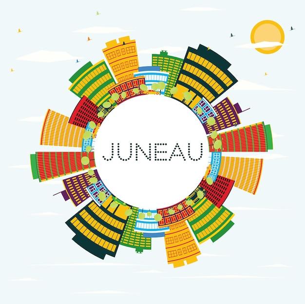 Juneau usa skyline met kleur gebouwen, blauwe lucht en kopie ruimte. vectorillustratie. zakelijke reizen en toerisme concept. afbeelding voor presentatiebanner plakkaat en website.