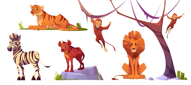 Jungle bewoners roofdieren en herbivore geïsoleerde karakters