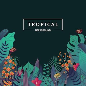 Jungle blad frame. tropische achtergrond met blad en bloem.
