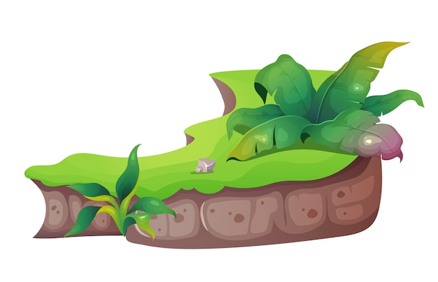 Jungle cartoon afbeelding. tropische natuur. exotisch gebladerte met gras en struiken. plant en vegetatie. gemalen egaal kleurobject. subtropische aard geïsoleerd op een witte achtergrond