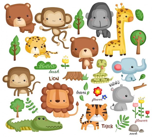 Jungle dier vector set