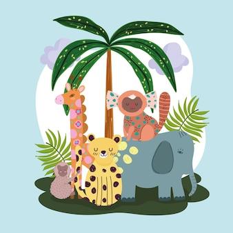 Jungle dieren palmboom