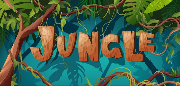 Jungle hand belettering houten tekst liana of wijnstok kronkelende takken regenwoud tropische klimplanten