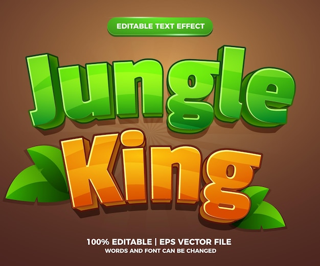 Jungle king cartoon komische bewerkbare teksteffect stijlsjabloon